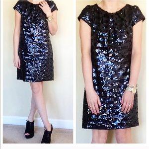 Milly Black & Navy Striped Sequin Dress Sz 2
